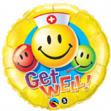 "Get Well Smiley Foil Balloon (18"") 1pc"